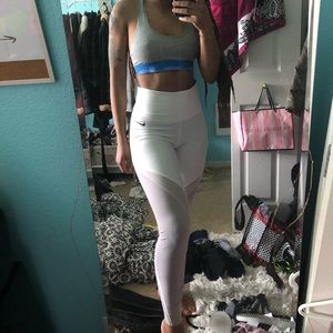 White/mauve mesh nike leggings